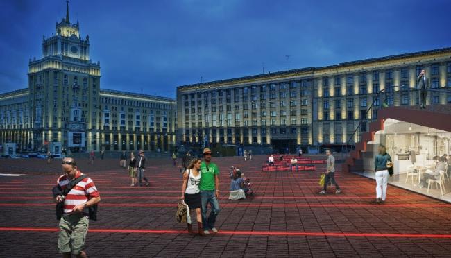 Концепция реорганизации Триумфальной площади. Вид со стороны Тверской улицы © Wowhaus