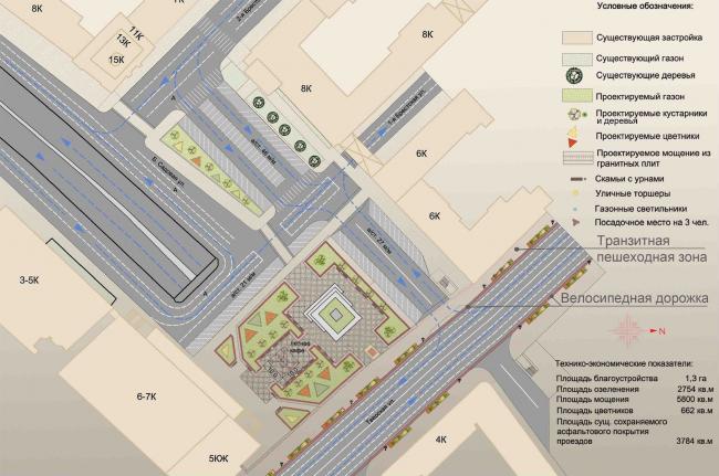Концепция благоустройства Триумфальной площади, «ГлавАПУ». Схема планировочной организации территории, вариант 1. Изображение с сайта moskr.ru