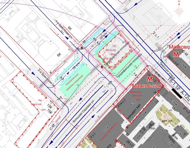 Концепция благоустройства Триумфальной площади, «ГлавАПУ». Схема организации движения транспорта и пешеходов, вариант 1. Изображение с сайта moskr.ru