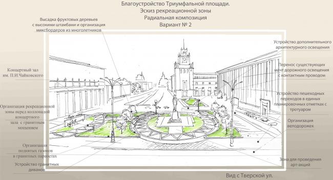 Концепция благоустройства Триумфальной площади, «ГлавАПУ». Эскиз рекреационной зоны. Изображение с сайта moskr.ru