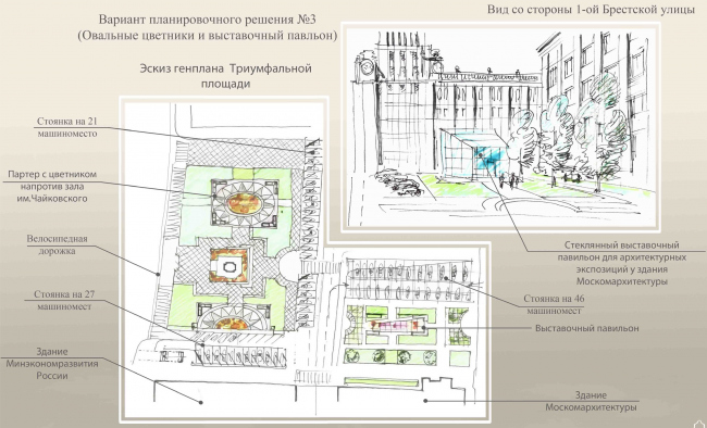 Концепция благоустройства Триумфальной площади, «ГлавАПУ». Благоустройство площади, вариант 3 (овальные цветники и выставочный павильон). Изображение с сайта moskr.ru