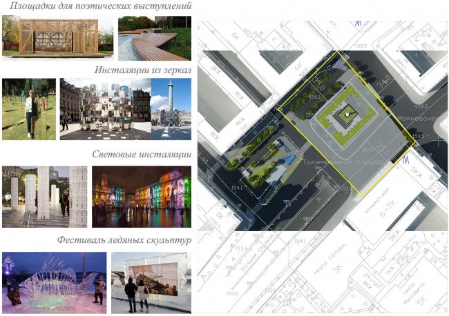 Концепция благоустройства Триумфальной площади, «Проектная компания Трио». Использование площади в праздничные дни. Изображение с сайта moskr.ru