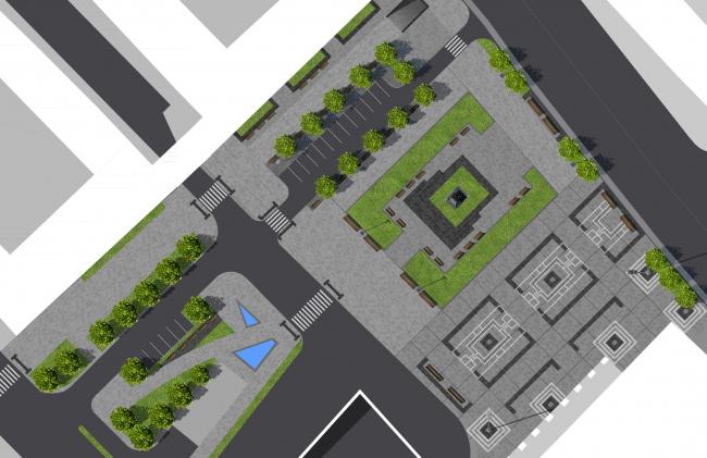 Концепция благоустройства Триумфальной площади, «Проектная компания Трио». Вариант №5 художественного мощения площади. Изображение с сайта moskr.ru
