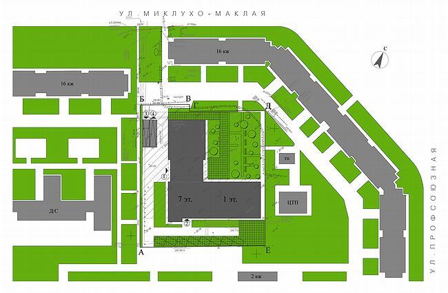 Административное здание на ул. Профсоюзной, 108-110. Генплан.  Проект, 2006 © ADM