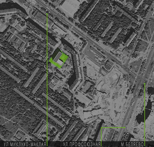 Административное здание на ул. Профсоюзной, 108-110. Положение в городе. Проект, 2006 © ADM