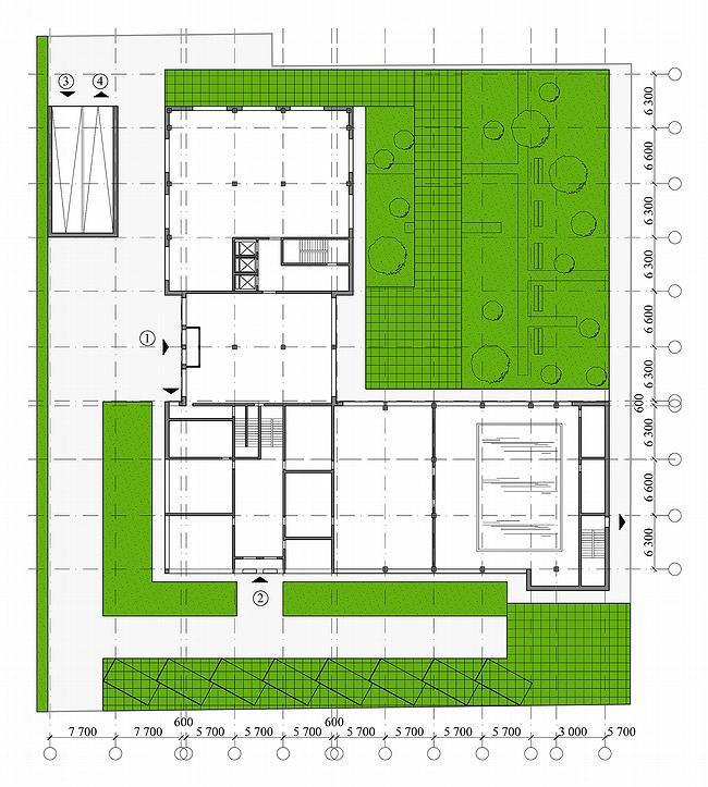 Административное здание на ул. Профсоюзной, 108-110. План 1 этажа. Проект, 2006 © ADM