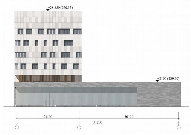 Административное здание на ул. Профсоюзной, 108-110. Фасад. Проект, 2006 © ADM