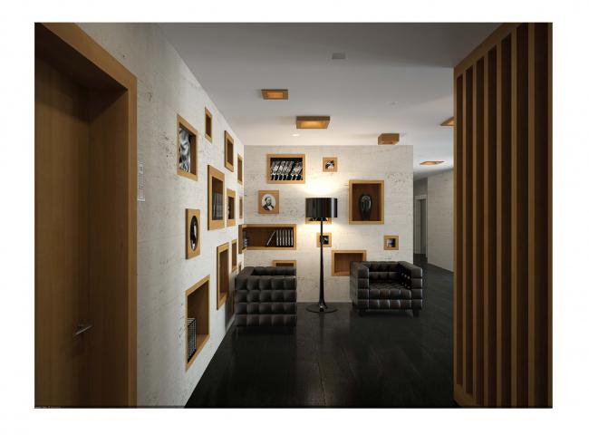 Интерьеры общественных зон жилого комплекса «Литератор» © Архитектурная мастерская «Сергей Киселев и Партнеры»