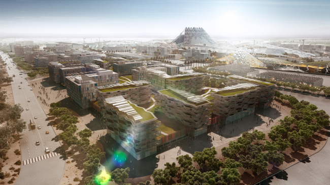Мастерплан комплекса Экспо-2020. Вид «зеленой» деревни Экспо-2020 © HOK
