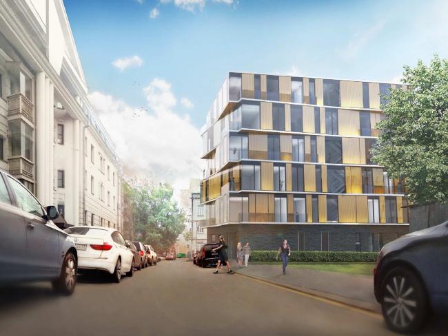 Эскизный проект строительства гостиничного комплекса в самом центре Москвы по адресу: Курсовой переулок, владение 10/1. Проектировщик–Scott Brownrigg, заказчик – ООО «Атлант»