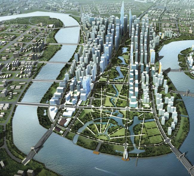 Генеральный план города Тяньцзинь, Китай. Работа из портфолио Perkins Eastman (США, Нью Йорк). © Perkins Eastman