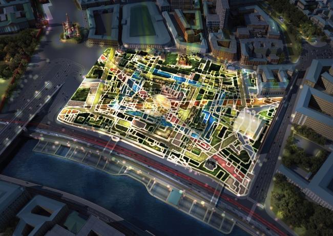 "Top view by night. ""Zaryadye"" Park. Project © Consortium MVRDV. Photo courtesy by ""Atrium"""