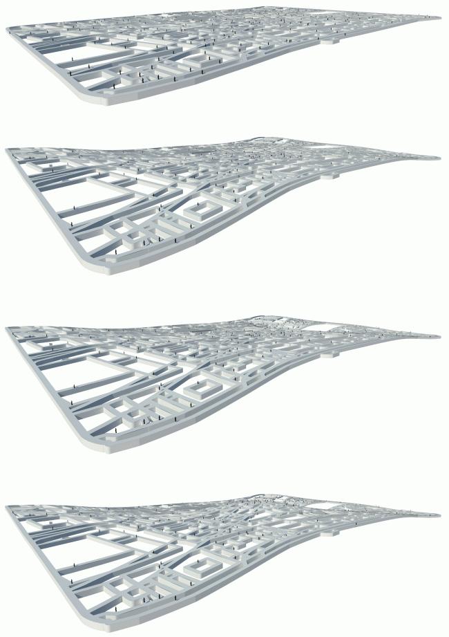 Концепция: аксонометрия. Парк «Зарядье». Проект. © Консорциум MVRDV. Изображения предоставлены бюро Атриум