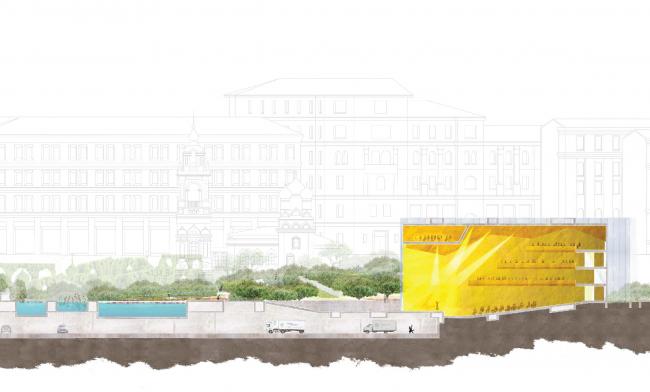 Разрез (по концертному залу). Парк «Зарядье». Проект. © Консорциум MVRDV. Изображения предоставлены бюро Атриум