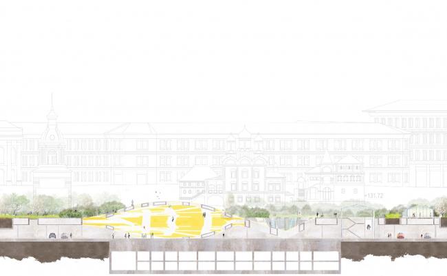 Разрез (по инфоцентру). Парк «Зарядье». Проект. © Консорциум MVRDV. Изображения предоставлены бюро Атриум