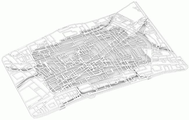 Срез подземного пространства. Парк «Зарядье». Проект. © Консорциум MVRDV. Изображения предоставлены бюро Атриум