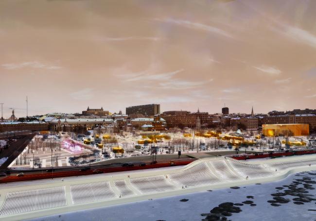 Вид со стороны Москвы-реки и набережной. Парк «Зарядье». Проект. © Консорциум MVRDV. Изображения предоставлены бюро Атриум