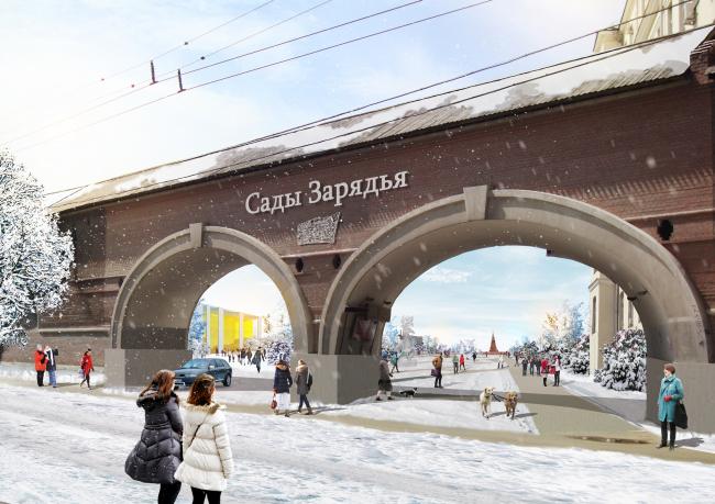 Вход со стороны Китайгородского проезда (через существующую арку). Парк «Зарядье». Проект. © Консорциум MVRDV. Изображения предоставлены бюро Атриум
