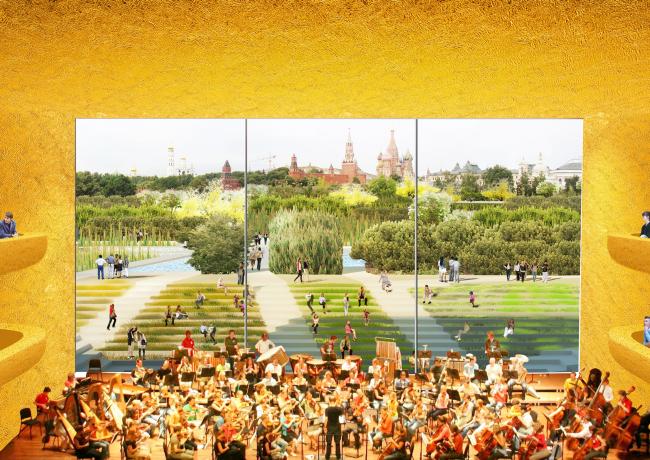 Концертный зал. Парк «Зарядье». Проект. © Консорциум MVRDV. Изображения предоставлены бюро Атриум