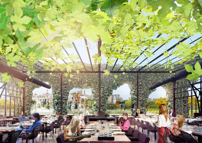 Кафе. Парк «Зарядье». Проект. © Консорциум MVRDV. Изображения предоставлены бюро Атриум