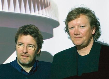 Олафур Элиассон и Кьетиль Торсен на открытии павильона