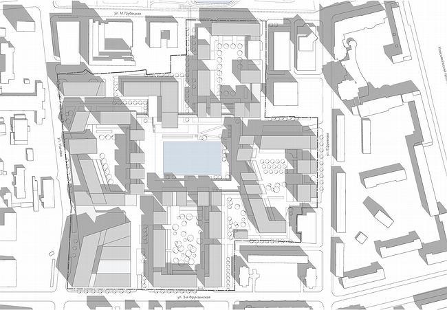 Концепция застройки квартала в районе Хамовники города Москвы