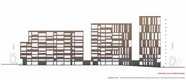 Принципиальная совмещенная схема характера остекления и тональной растяжки кирпичной кладки. Внизу красными буквами написано: «Внимание: это не пример фасада!»