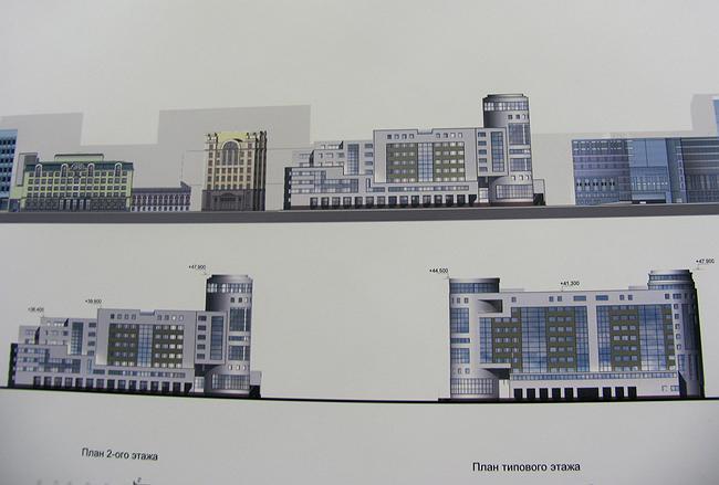 Предпроект гостинично-административного комплекса на Летниковской улице. ЗАО «Поиск 1», арх. Л.В. Япрынцева