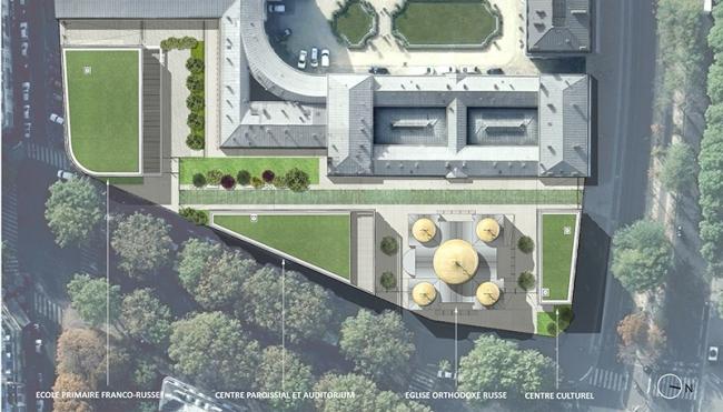 Русский духовно-культурный центр в Париже. Генплан и распределение функций © Wilmotte&Associés SA