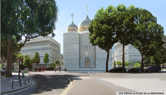 Русский духовно-культурный центр в Париже. Вид со стороны площади Сопротивления © Wilmotte&Associés SA