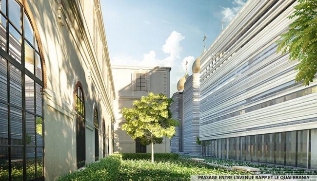 Русский духовно-культурный центр в Париже. Проход между авеню Рапп и набережной Бранли © Wilmotte&Associés SA