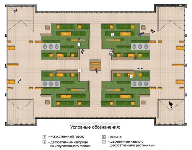 Внутренний двор офисной зоны. Второй вариант. Генплан