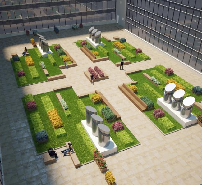 Внутренний двор офисной зоны. Второй вариант