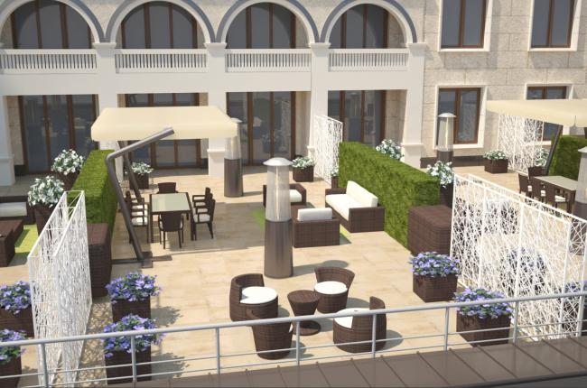 Терраса президентских апартаментов. Планировка для пяти гостей