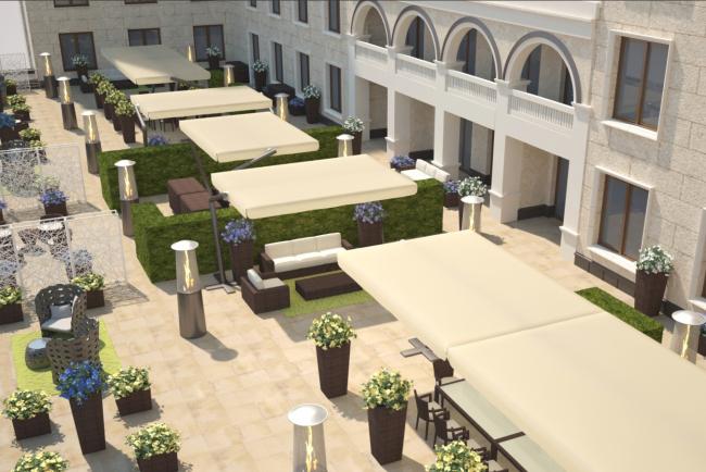 Терраса президентских апартаментов. Планировка для 2-х и 3-х гостей