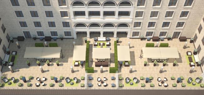 Терраса президентских апартаментов. Вид сверху.  Планировка для 2-х и 3-х гостей
