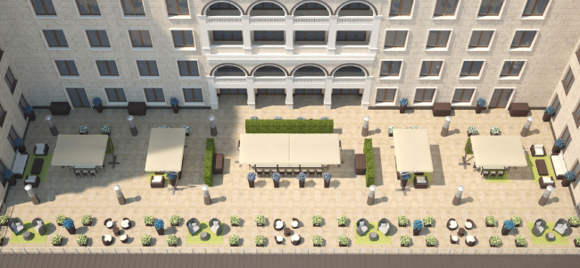 Терраса президентских апартаментов. Вид сверху. Планировка для одного гостя