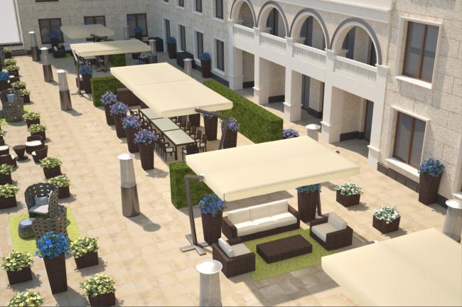 Терраса президентских апартаментов. Планировка для одного гостя