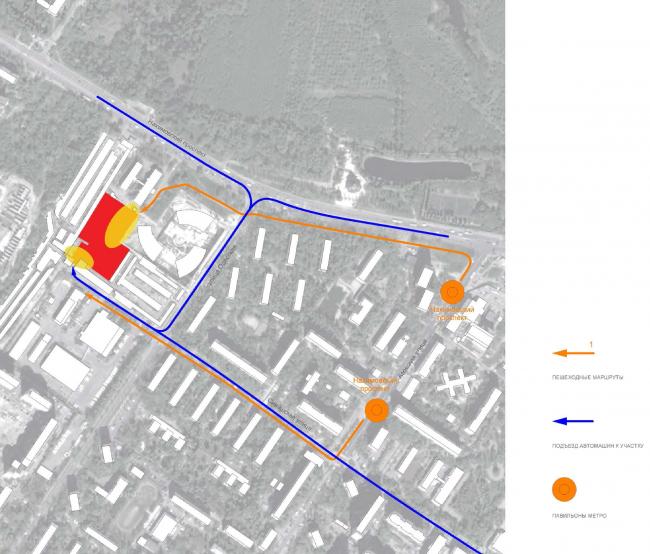 Офисный центр на Нахимовском проспекте. Схема транспортного и пешеходного движения © ADM