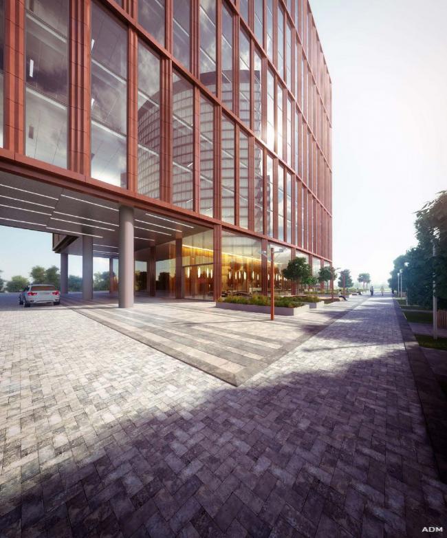 Офисный центр на Нахимовском проспекте. Центральный вход © ADM