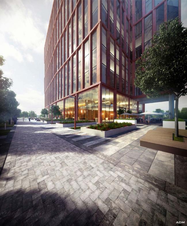Офисный центр на Нахимовском проспекте. Вид со стороны  Нахимовского проспекта © ADM