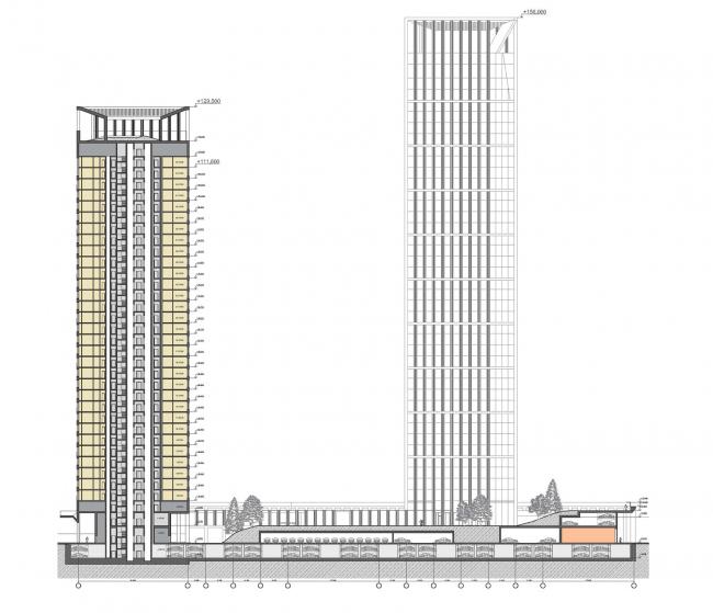 Концепция жилого комплекса на Рублевском шоссе © «Сергей Скуратов ARCHITECTS»