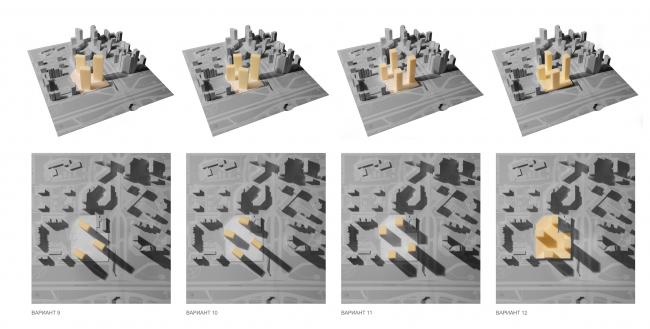 Концепция жилого комплекса на Рублевском шоссе. Варианты композиционного решения © «Сергей Скуратов ARCHITECTS»