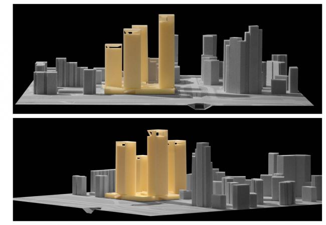 Концепция жилого комплекса на Рублевском шоссе. Финальный вариант компоновки жилых объемов © «Сергей Скуратов ARCHITECTS»