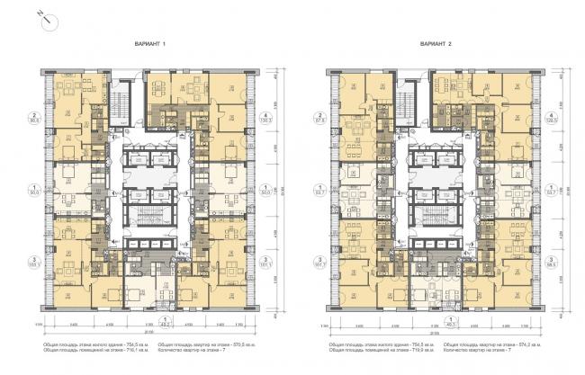 Концепция жилого комплекса на Рублевском шоссе. Корпус 1, план типового этажа © «Сергей Скуратов ARCHITECTS»