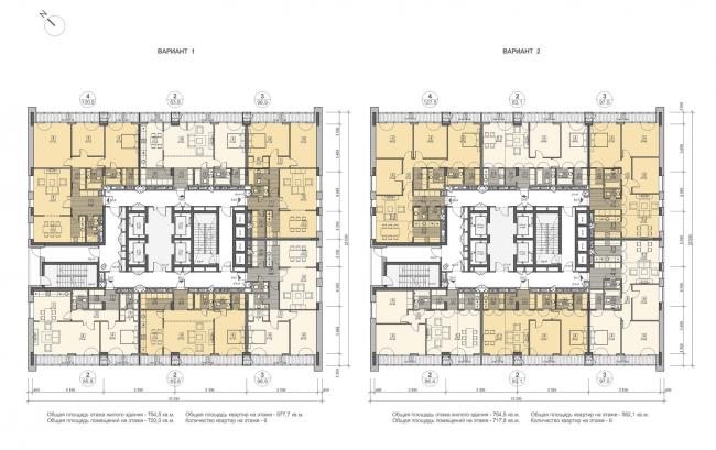 Концепция жилого комплекса на Рублевском шоссе. Корпус 2, план типового этажа  © «Сергей Скуратов ARCHITECTS»