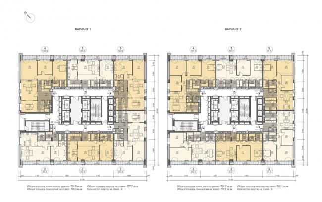 Концепция жилого комплекса на Рублевском шоссе. Корпус 3, план типового этажа © «Сергей Скуратов ARCHITECTS»