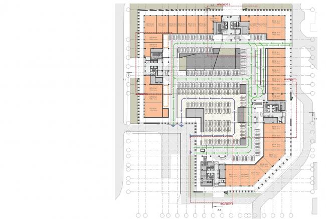 Концепция жилого комплекса на Рублевском шоссе. План 1 этажа © «Сергей Скуратов ARCHITECTS»