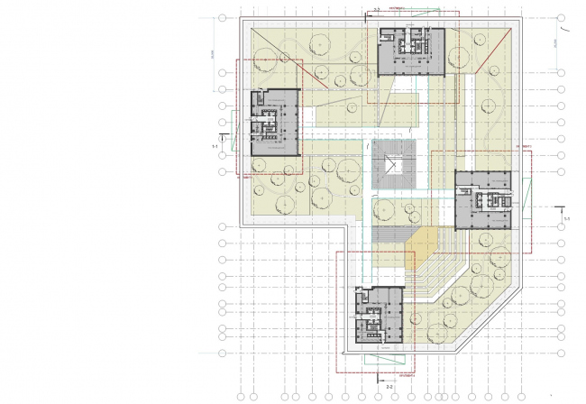 Концепция жилого комплекса на Рублевском шоссе. План 3 этажа © «Сергей Скуратов ARCHITECTS»