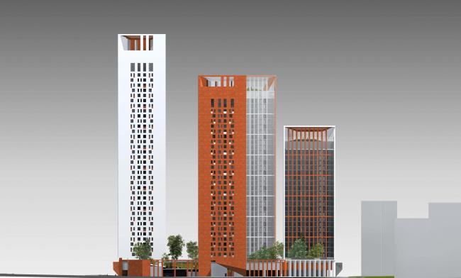Концепция жилого комплекса на Рублевском шоссе. Фасад по Каштановой аллее © «Сергей Скуратов ARCHITECTS»